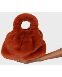 Glassworks Dusty Orange Furry Ring Handle Crossbody Handbag - Multicolour
