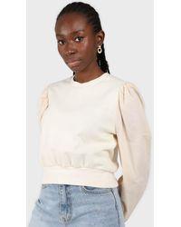 Glassworks Cream Balloon Sleeve Crop Sweatshirt - Natural