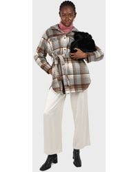 Glassworks Brown And Grey Plaid Wool Blend Belted Shirt Jacket - Multicolour