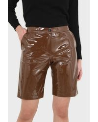 Glassworks Brown Glossy Vegan Leather Shorts