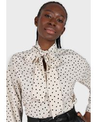 Glassworks Ivory And Black Polka Dots Tie Neck Blouse - Multicolour