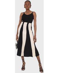 Glassworks Black And Ivory Thick Stripe Flare Knit Midi Skirt
