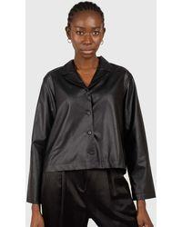 Glassworks Black Vegan Leather Short Shirt Jacket