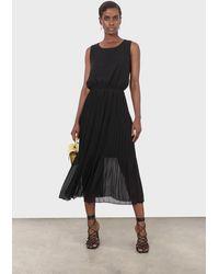 Glassworks Black Silky Micro Pleat Maxi Dress