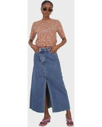Glassworks Mid Blue Denim Front Slit Maxi Skirt