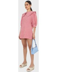 Glassworks Red And Ivory Gingham Large Collar Mini Dress