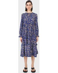 Glassworks Cobalt Floral Printed Tiered Ruffle Maxi Dress - Blue