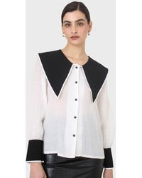 Glassworks Ivory And Black Oversized Pointed Collar Blouse