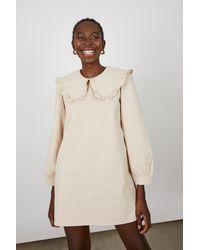 Glassworks Light Beige Large Collar Mini Dress - Natural