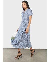 Glassworks Blue And White Tiny Floral Wrap Ruffle Midi Dress