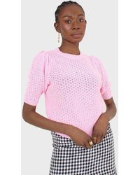 Glassworks Hot Pink Textured Knitted Short Sleeve Top