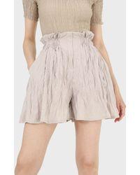Glassworks Beige Silky Wrinkle Shorts - Natural