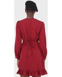 Glassworks Red Polka Dot Wrap Front Long Sleeved Mini Dress