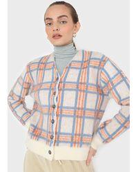Glassworks Ivory And Orange Multi Check Brushed Cardigan - Multicolour