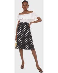 Glassworks Black And White Polka Dots Flare Midi Skirt