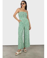 Glassworks Green And White Graphic Floral Ruched Bodice Jumpsuit