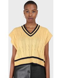 Glassworks Yellow And Black Varsity Trim Cableknit Vest