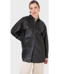 Glassworks Black Vegan Leather Belted Shirt Jacket