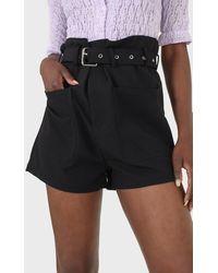 Glassworks Black Belted Loose Fit Shorts