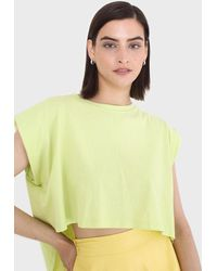Glassworks Green High Low Hem Padded Muscle Tee