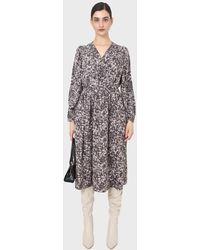 Glassworks Grey And Ivory Dapple Print Maxi Dress - Black