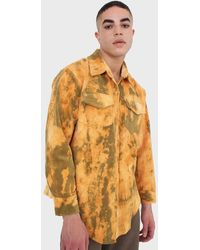 Glassworks Orange And Khaki Tie Dye Tie Waist Shirt Jacket