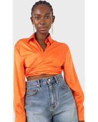 Glassworks Orange Thick Silky Plunging Tie Front Shirt