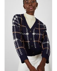 Glassworks Blue Bold Checked Button Up Cardigan
