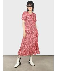 Glassworks Red And White Tiny Floral Wrap Ruffle Midi Dress
