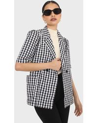 Glassworks Black And Ivory Checked Short Sleeved Blazer