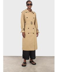 Glassworks Dark Beige Classic Double Breasted Trench Coat - Natural
