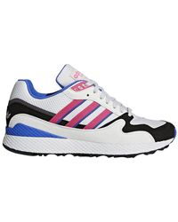 adidas White, Pink And Blue Ultra Tech Sneakers - Multicolor