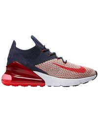 Nike Air Max 270 Flyknit Casual Sneakers From Finish Line - Blue