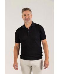 Gobi Cashmere USA Silk Cashmere Polo Shirt - Black