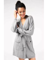 Gobi Cashmere USA Contrast Tipped Short Robe - Gray