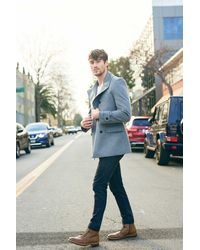Gobi Cashmere USA Double-breasted Cashmere Peacoat - Gray