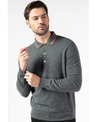 Gobi Cashmere USA Contrast-tipped Polo Shirt - Grey