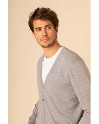 Gobi Cashmere USA V-neck Button Cardigan - Grey