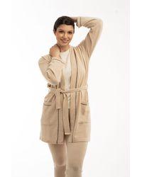 Gobi Cashmere USA Contrast-tipped Short Robe - Natural