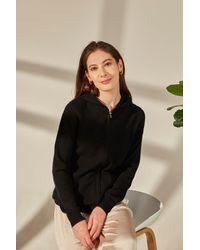 Gobi Cashmere USA Full-zip Hoodie - Black