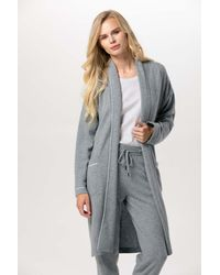 Gobi Cashmere USA Shawl Collared Robe - Gray
