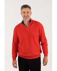 Gobi Cashmere USA Half Zip Polo With A Contrasting Collar - Red