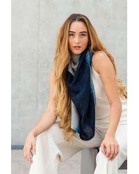 Gobi Cashmere USA Wide Lightweight Printed Shawl - Blue