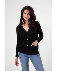 Gobi Cashmere USA Silk Cashmere Relaxed Fit Cardigan - Black