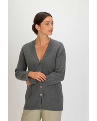 Gobi Cashmere USA Long Neckline Cardigan - Grey