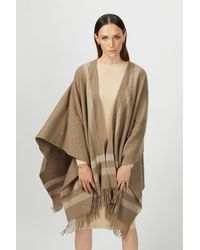 Gobi Cashmere USA Striped Poncho - Brown