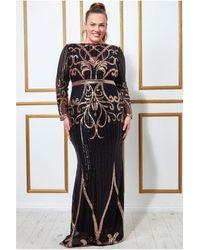 Goddiva Plus Sequin Embellished Evening Maxi Dress - Black