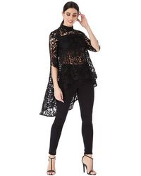 Goddiva High Neck Crochet Blouse With Asymmetric Hem - Black