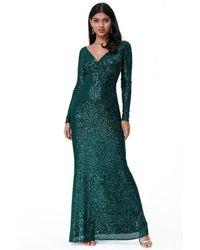 Goddiva Sequin Stripe Maxi Dress With Long Sleeves - Green