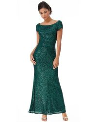 Goddiva Cowl Back Stripe Sequin Maxi Dress - Green